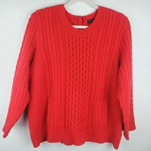 J. CREW Red Wool Cable Knit Pocket Sweater